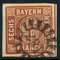 BAYERN QUADRATE Nr 4II GMR 281 Zentrisch Gestempelt Briefstück X88059A - Bayern