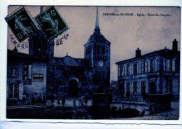 Fresnes-sur-Woevre. Eglise. Ecole Des Garçons. Publicité Thermomètre Et Gobelins Chapellerie Verdun - Other Municipalities