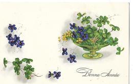CPA  De  BONNE  ANNEE   -   Panier De Fleurs Garni De Trèfles à 4 Feuilles Et De Violettes    //   TBE - Nieuwjaar