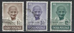 India. Scott # 203-05 Used. Mahatma Gandhi Centenary. 1969 - Mahatma Gandhi