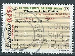 SPANIEN ESPAGNE SPAIN ESPAÑA 2001 SOMBRERO TRES PICO SONG 75 PTAS ED 3838 YV 3393 MI 3673 SG 3791 SC 3125 - 1931-Today: 2nd Rep - ... Juan Carlos I