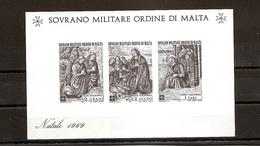 SOM SOVEREIGN MILITARY ORDER OF MALTA - Christmas 1969 - Souvenir Sheet - Malte (Ordre De)
