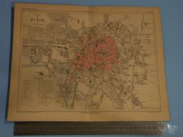 France Grand Plan De Dijon  - Carte Géographique .Malte Brun, PL 21 Bis, Carte Plié En Deux C:1880 - Geographical Maps