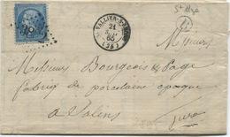 Saint-VALLIER (Drôme) N° 22 Oblitéré Gros Chiffres + Type 15 + Boite Rurale B (Saint Uze) 1865 - 1849-1876: Période Classique