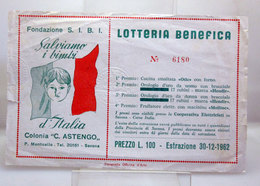 LOTTERIA BENEFICA FONDAZIONE S. I. B. I. SALVIAMO I BIMBI 1962 - Biglietti Della Lotteria