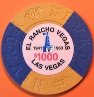 $1000 Fantasy Casino Chip. El Rancho, Las Vegas, NV. N13. - Casino