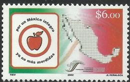 2002 Por Un México Integro, CAMPAIGN AGAINST CORRUPTION, MAP, Apple MNH MI 2999 - Sc 2291 - México
