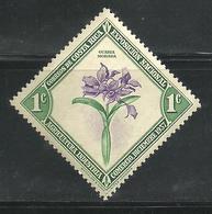 1937 - 1938  COSTA RICA Flor Nacional Orquídea Guaría Morada Sello MNH  National Flower Orchid Guaria  Purple - Costa Rica