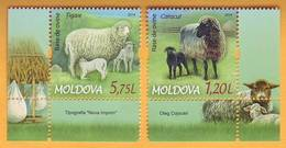 2014 Moldova Moldavie Moldau Breeds Of Sheep. A Series Of Two Marks Mint - Farm