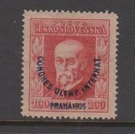 Czechoslovakia SG 247 1925 1st Olympic Congress 100h Red,mint  Hinged - Czechoslovakia