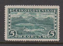 Czechoslovakia SG 277 1927 Great Tatra,5k Green ,mint Hinged - Czechoslovakia