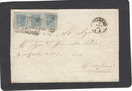 Lettera Da Palermo Per Trapani,affrancata Con L.26 In Striscia Di Tre - 1861-78 Victor Emmanuel II