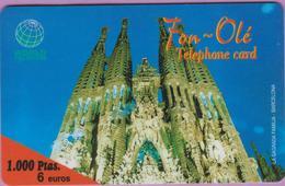 Télécarte Prépayée °° Espagne °° Fon-Olé - 1000 Ptas.6 € - Sagrada Familia - RV. - Espagne