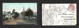 South Africa, Main Street, Caledon Dutch Reformed Church, Used 1/2d, CALEDON AP 10  04 > WELLINGTON 1906> HEIDELBURG - South Africa (...-1961)