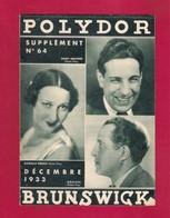 Musique. Catalogue Illustré Des Disques  POLYDOR-BRUNSWICK 1933. - Music & Instruments