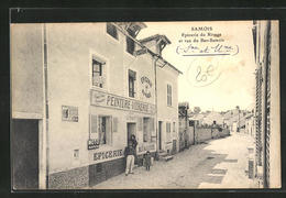 CPA Samois, Epicerie Du Rivage Et Rue Du Bas-Samois - Samois