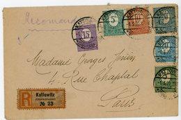 HAUTE SILESIE POLOGNE ENV 1920 KATOWITZ ( OBERSCHLESIEN ) N° 21 X 2 , 22, 23 ET 24 X 2 LETTRE RECOMMANDEE => FRANCE RRR - Schlesien (Ober- Und Nieder-)