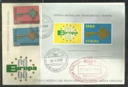 ITALIA REPUBBLICA ITALY REPUBLIC 1968 EUROPA CEPT SERIE COMPLETA SET FDC MOSTRA DEL FRANCOBOLLO A NAPOLI - 6. 1946-.. Republic