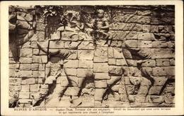 Cp Kambodscha, Angkor Thom, Terrasse Dite Des Elephants, Detail Du Bas Relief - China
