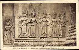 Cp Kambodscha, Angkor Vath, Decorations Murales Des Galeries Du 2e Etage - China