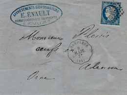 1873- Lettre De HONFLEUR ( Calvados ) Cad Conv. Stat  Honfleur  H.LIS. 2°   Affr. N°60  Oblit. G C 2056 ( Lisieux ) - Postmark Collection (Covers)