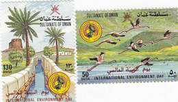 OMAN 1987, Environment Day Ducks ,Palms 2v. Complete Set Nice Topical - Reduced Price - SKRILL PAYMENT ONLY - Oman
