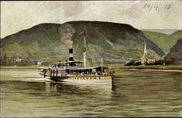 Artiste Cp Dampfer Auf Dem Rhein, Köln Düsseldorfer Rheindampfschifffahrt - Ships