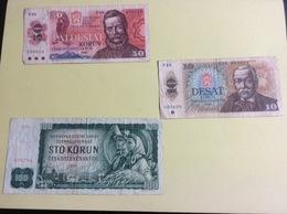 3 Billets Tchécoslovaquie, Froissés - Hongrie