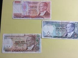 3 Billets : Turquie (froissés) - Turquie