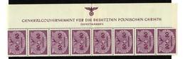 Generalgouvernement GG MiNr. D12, Oberrand Mit HHZ, MIttelbug, *, Anhaftungen Rand, Marken ** - Occupation 1938-45
