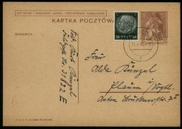 P0184 - DR Polen Generalgouvernement Propaganda GS Postkarte: Gebraucht Lublin - Plauen 13.6.1940, Bedarfserhaltung , - Allemagne