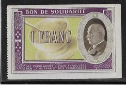 France Bon De Solidarité 1 Franc Pétain - Neuf - Bons & Nécessité