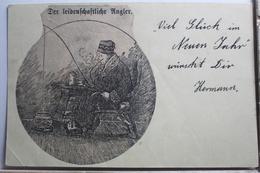 AK Deutschland Grußkarte - Der Leidenschaftliche Angler 1908 Gebraucht #PE741 - Germany