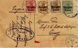 1916- C P E P 5 C  EXPRES  + Compl. à 28 C  T P Allemands Surchargés De Brussels Pour Cimey- Censure Allemande - WW I