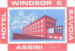ETIQUETA DE HOTEL  - HOTEL WINDSOR SAVOIA  -ASSISI -ITALIA - Etiquetas De Hotel