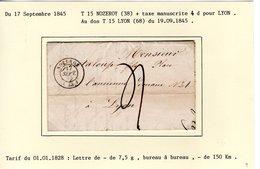 Jura :  T 15 NOZEROY + Taxe Manuscrite 4 D Sur LAC En 1845 - 1801-1848: Précurseurs XIX