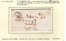 Jura :  T 15 NOZEROY + Taxe Manuscrite 2 D + Boite Rurale B ( Censeau ) Sur LAC En 1847 - Marcophilie (Lettres)