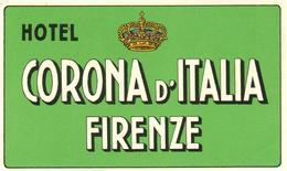 ETIQUETA DE HOTEL  - HOTEL CORONA D'ITALIA  -FIERENZE  -ITALIA - Etiquetas De Hotel