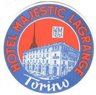 ETIQUETA DE HOTEL  - HOTEL MAJESTIC LAGRANGE  -TORINO -ITALIA - Etiquetas De Hotel