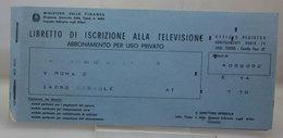 LIBRETTO DI ISCRIZIONE ALLA TELEVISIONE CON BUSTA USATO VINTAGE - Italia