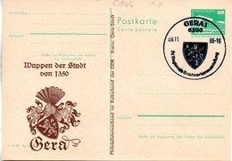"""(FC-8)DDR Amtl.GZS.m.priv.Zudruck""""Palast Der Republik 10Pf.smaragdgrün""""P84/C146 """"Wappen/Gera"""" SSt 9.11.86 - Postcards - Used"""