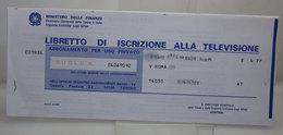 LIBRETTO DI ISCRIZIONE ALLA TELEVISIONE  VINTAGE - Italie