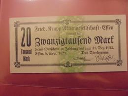 ESSEN FRIED.KRUPP 20.000 MARK 1923 - [11] Emissions Locales