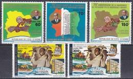 Elfenbeinküste Ivory Coast Cote D'Ivoire 1980 Geschichte Persönlichkeiten Präsident Félix Houphouët-Boigny, Mi. 660-4 ** - Côte D'Ivoire (1960-...)