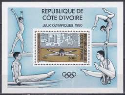 Elfenbeinküste Ivory Coast Cote D'Ivoire 1980 Sport Spiele Olympia Olympics Moskau Turnen Gymnastics, Bl. 16 ** - Côte D'Ivoire (1960-...)