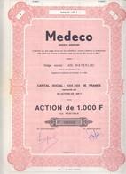Action De 1000 F De MEDECO Waterloo - Actions & Titres