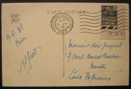 Exposition Coloniale 1931 Timbre Avec Coin Daté Sur Carte Postale Angkor Vat - Postmark Collection (Covers)