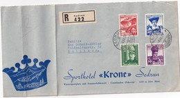 SUISSE 1939 LETTRE RECOMMANDEE DE SEDRUN SPORT HOTEL KRONE AVEC CACHET ARRIVEE ZOLLIKON - Pro Juventute