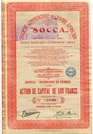 Congo Belge Socca Société Commerciale Du Centre Africain Action De Capital De 500 Fr - Afrique