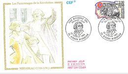 FDC Personnages De La Révolution Française : Mirabeau (45 Bignon Mirabeau 25/02/1989) - FDC